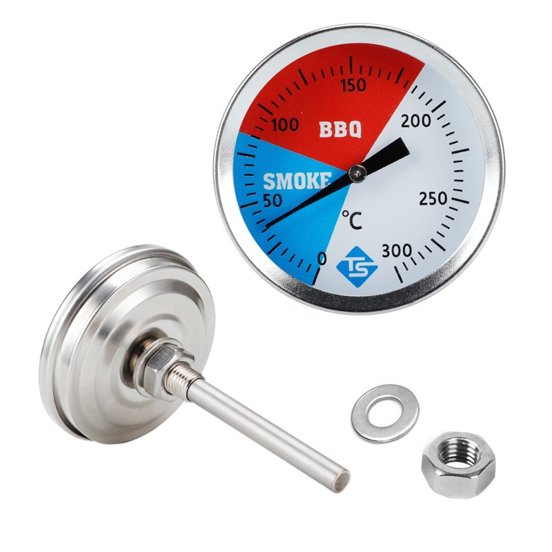 300 Degrees Thermometer BBQ Smoker Grill Stainless Steel Thermometers Temperature Gauge Barbecue Thermometer BGD0400