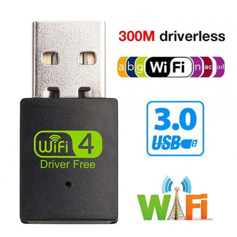 300M Wireless Network Card USB Wireless WiFi Receiver 300Mbps USB Driverless Transmitter Mini Free Drive Signal Receiver black