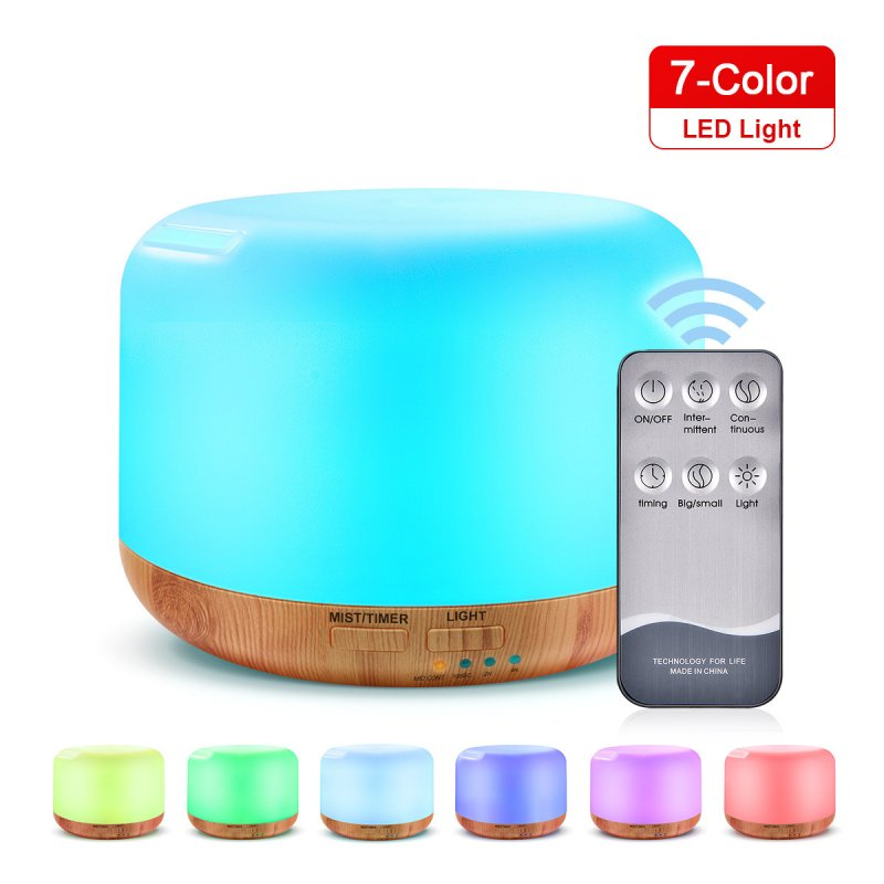 300ml Remote Control Wood Grain Household Fragrance Lamp Ultrasonic Mute Humidifier Light wood grain remote control_PSE Plug