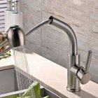 304 Stainless Steel Rotating Stretchable Cold & Hot Water Tap Pulling-type Faucet for Kitchen Vegetable Basin Decoration