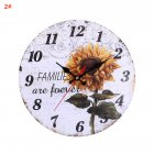 30CM Retro Pastoral Style Sunflower Pattern Wall Clock for Home Living Room Decor 2#