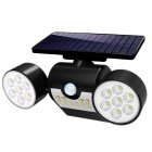 30LEDs Solar Light Motion Sensor Spotlight Waterproof Outdoor Adjustable Angle Lights for Garden Wall black