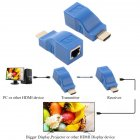 30M HDMI To RJ45 Network Cable Extender Converter Repeater Over CAT-5e CAT6 blue_no