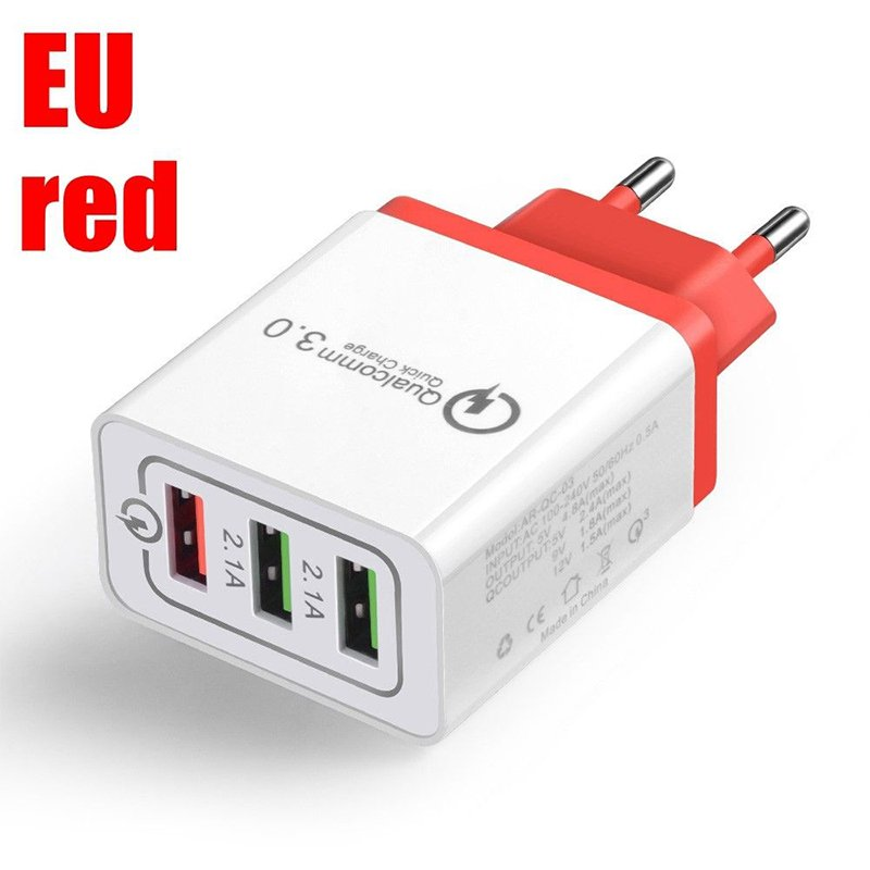 30W QC 3.0 Fast Quick Charger 3 Port USB Hub Wall Charger Adapter red_European regulations