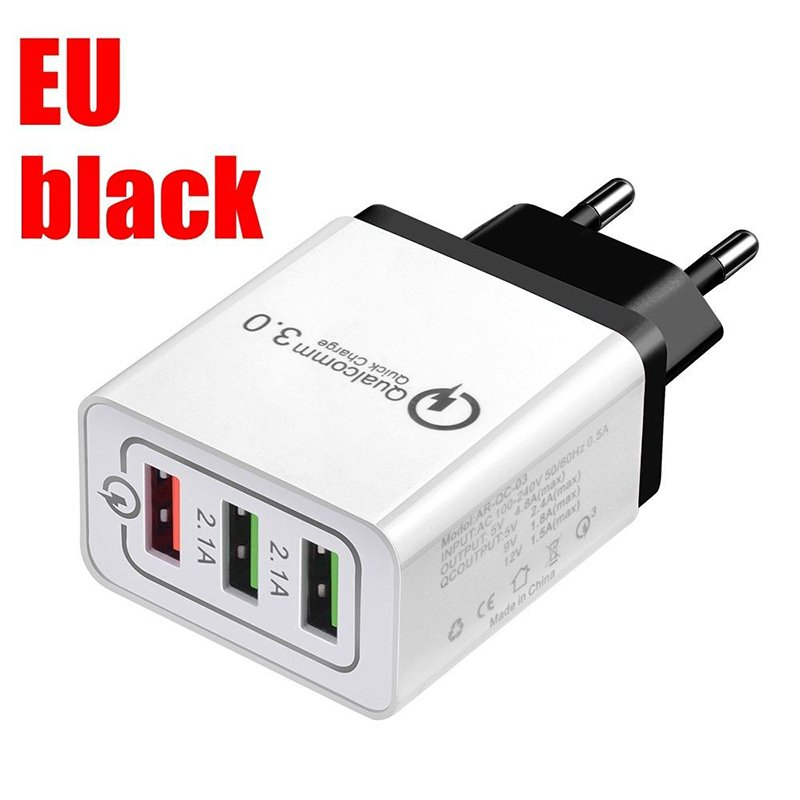 30W QC 3.0 Fast Quick Charger 3 Port USB Hub Wall Charger Adapter black_European regulations