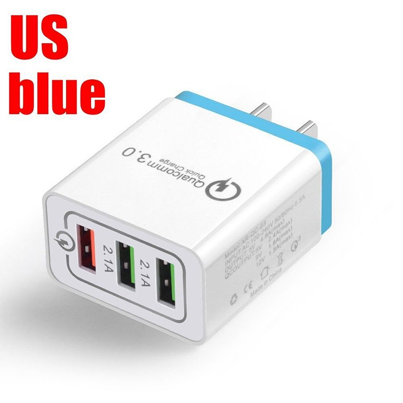 30W QC 3.0 Fast Quick Charger 3 Port USB Hub Wall Charger Adapter sky blue_U.S. regulations
