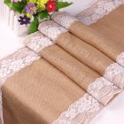 30X275CM Vintage Lace Jute Table Runner Burlap Party Supplies Wedding Festival Decoration Chair Runner