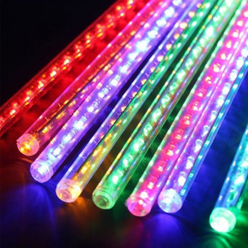 30cm 96LED 8 Tube Waterproof Shower Meteor Rain Light for Wedding Garden Home Party Christmas Xmas Decoration Tree Lights RGB_U.S. regulations