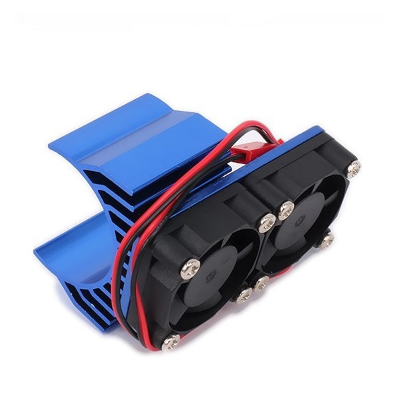 30mm Double Motor Cooling Fan Heat Sink 21000RPM for 1/10 HSP RC Car Modified 540 550 3650 3660 3670 3674 Series Navy blue