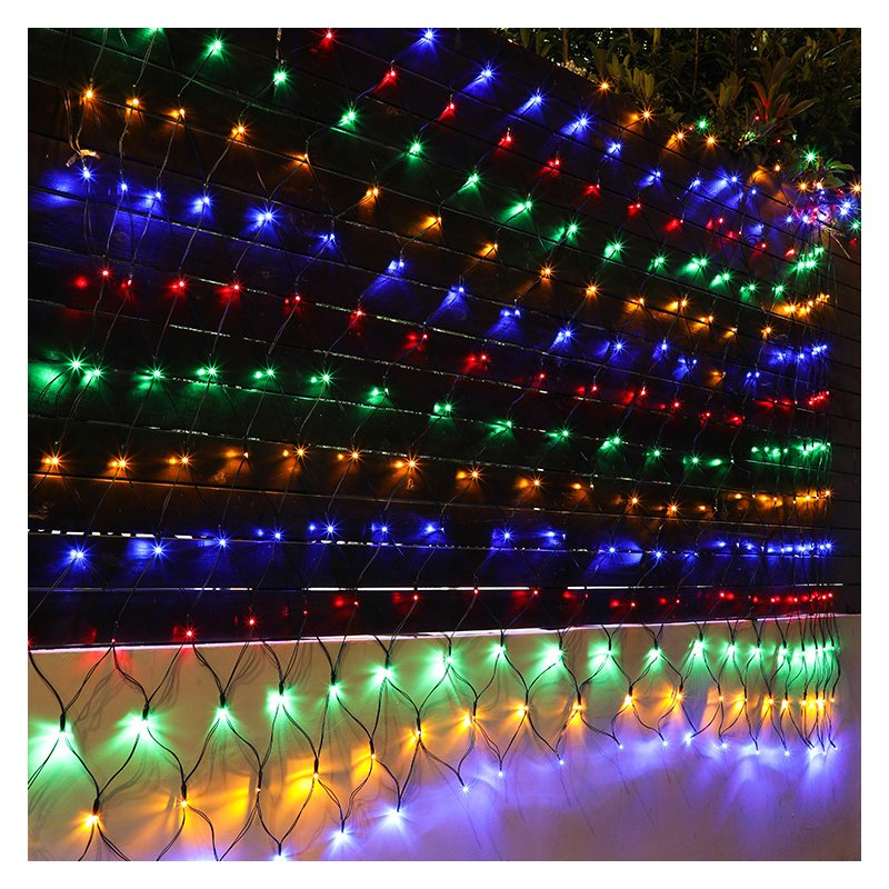 320led 3x2M 204 Solar Net Mesh String Light Outdoor Garden Patio Curtain Light color light
