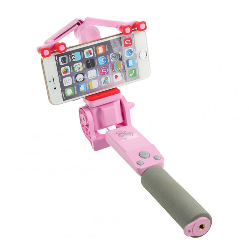 360 Degree Rotating Selfie Stick Mobile Phone Bluetooth Automatic Rotating Stainless Steel + ABS pink