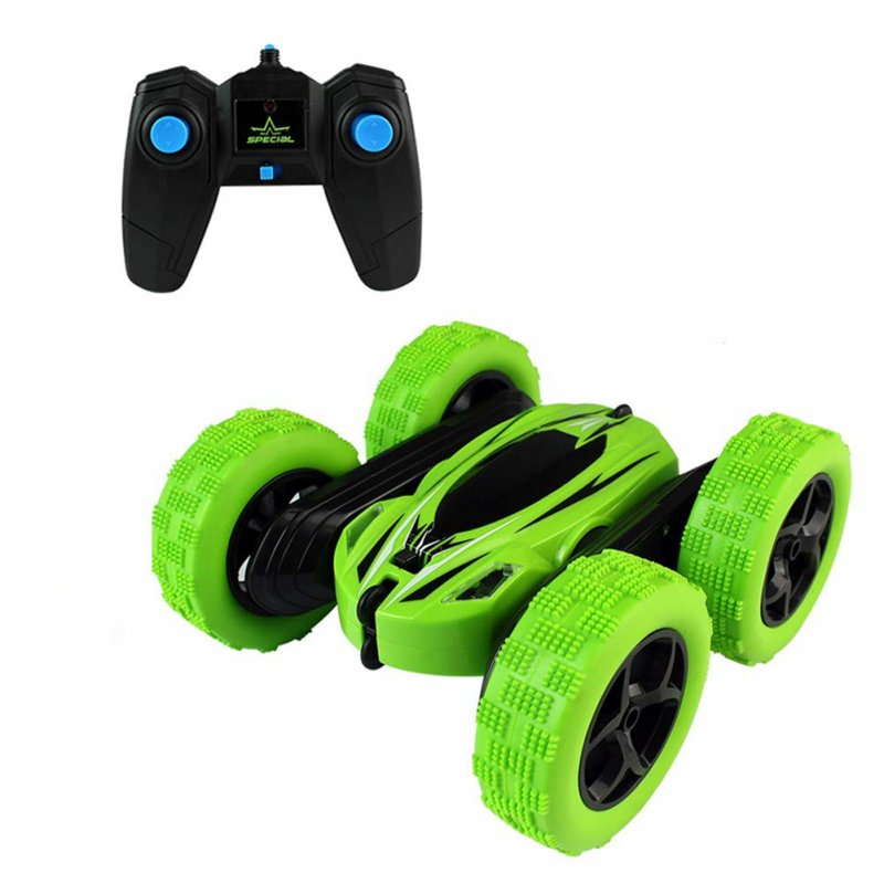 360 Degrees Rotating Double Sided RC Stunt Car with Light 1:24 Modeling Toy for Kids green