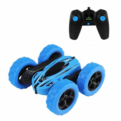 360 Degrees Rotating Double Sided RC Stunt Car with Light 1:24 Modeling Toy for Kids blue