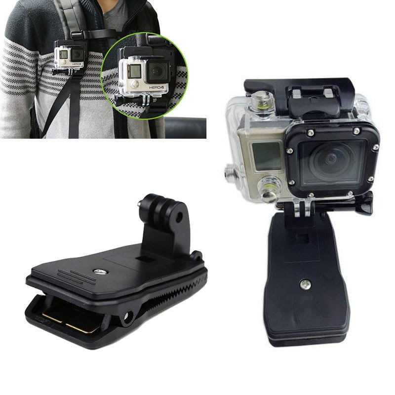 360° Rotary Backpack Hat Belt Clip Fast Clamp Mount for Gopro Hero 5 4 3+ 3 2 1 black