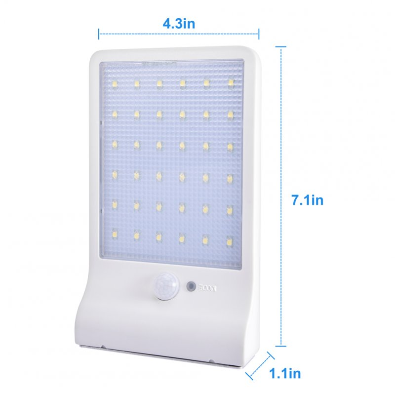 36LEDs Solar Powered Human Body Induction Wall Light for Outdoor white_(ME0006301)