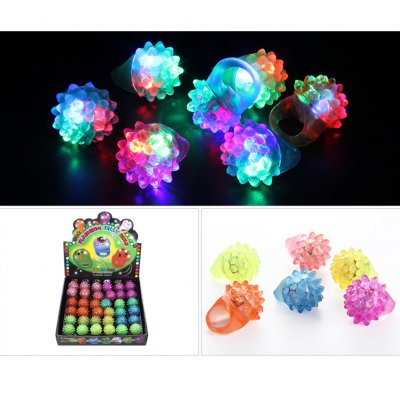 36Pcs Cartoon Pattern 3 Modes Luminous Rings Toy for Halloween Christmas Soft strawberry ring