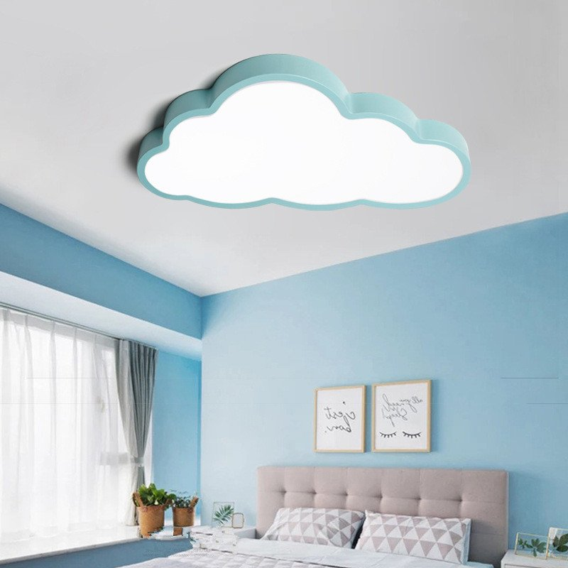 36W/48W LED Cartoon Cloud Shape Ceiling Light for Baby kids Bedroom 220V Blue 3colors dimming_50X28CM_(57x35x12cm 1.7kg)