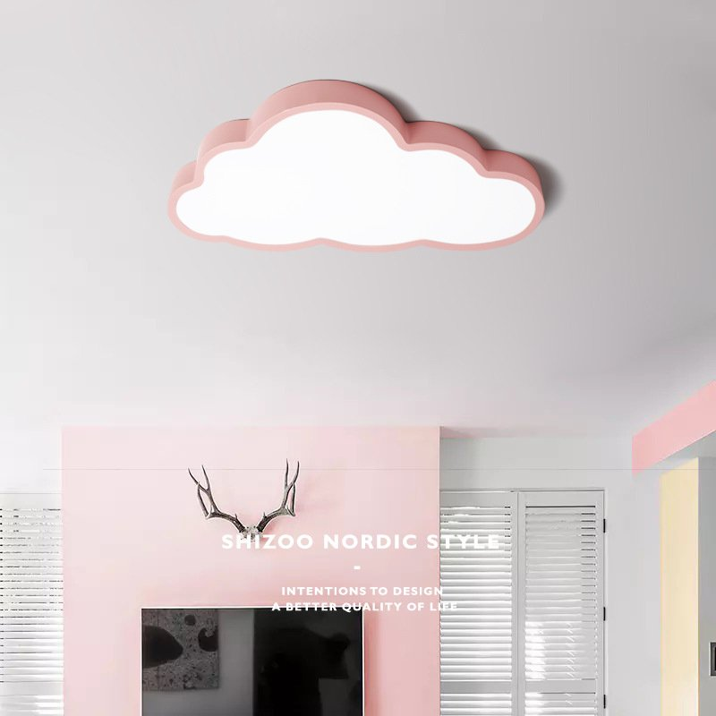 36W/48W LED Cartoon Cloud Shape Ceiling Lamp Baby Bedroom Lighting 220V Pink No Dimming White light_(57x33x12cm 1.7kg)