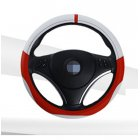 36cm 38cm 40cm Diameter Integration Seamless Car Steering Wheel Cover Sleeve for Universal Application White + red_36cm