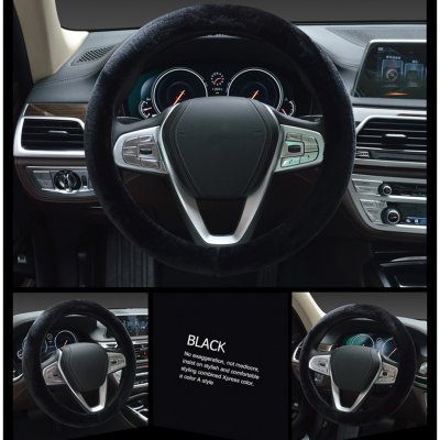 38cm Car Vehicle Interior Short Plush Warm Steering Wheel Cover black_38cm