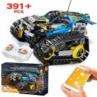 391pcs Creator APP Remote Control Car Bricks Technic RC Tracked Racer Model Building Blocks Toys for Children Gift blue