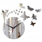 3D Acrylic DIY Mirror Wall Clock with Wall Stickers Home Decoration Christmas Gift  Silver HDX021