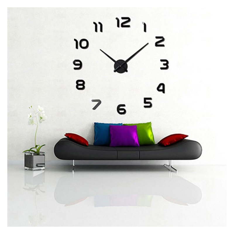3D Big Size Wall Clock Mirror Sticker Diy Living Room Decor Meetting Room Wall Clock