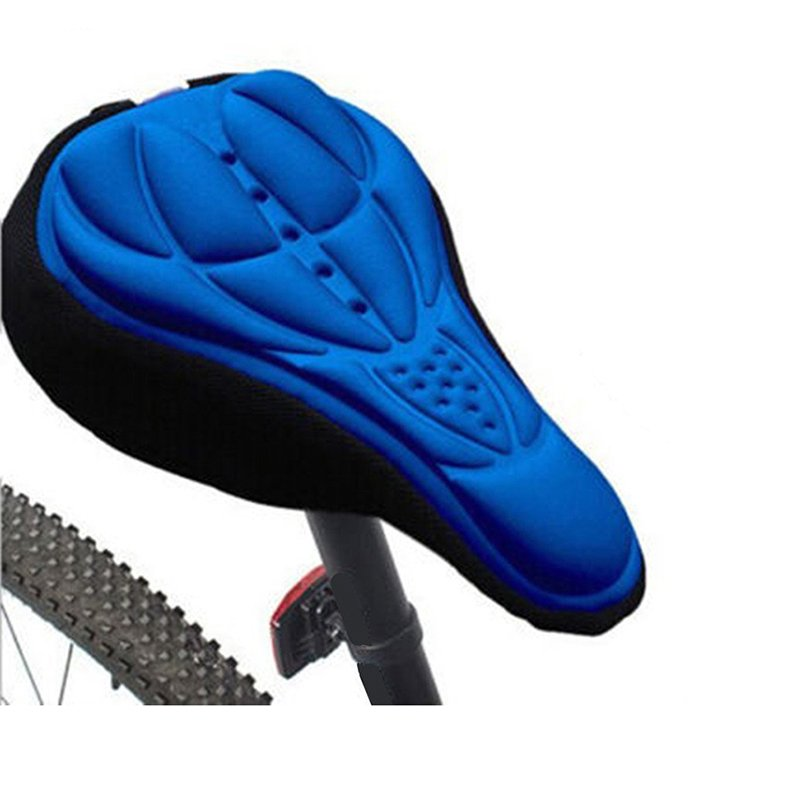 3D Breathable Bicycle Seat Cover Embossed High-elastic Cushion Perfect Bike Accessory blue