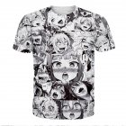 3D Cartoon Heads Series Printing Couples Short Sleeve T-Shirt white_M