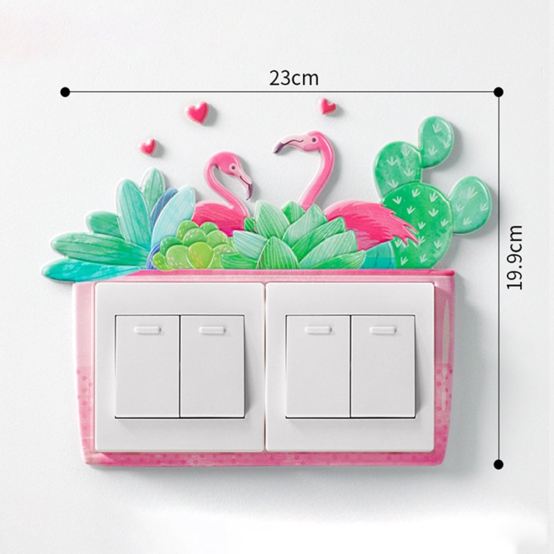 3D Cartoon Room Wall Noctilucence Switch Sticker Protective Cover Home Decor Sweet and fleshy