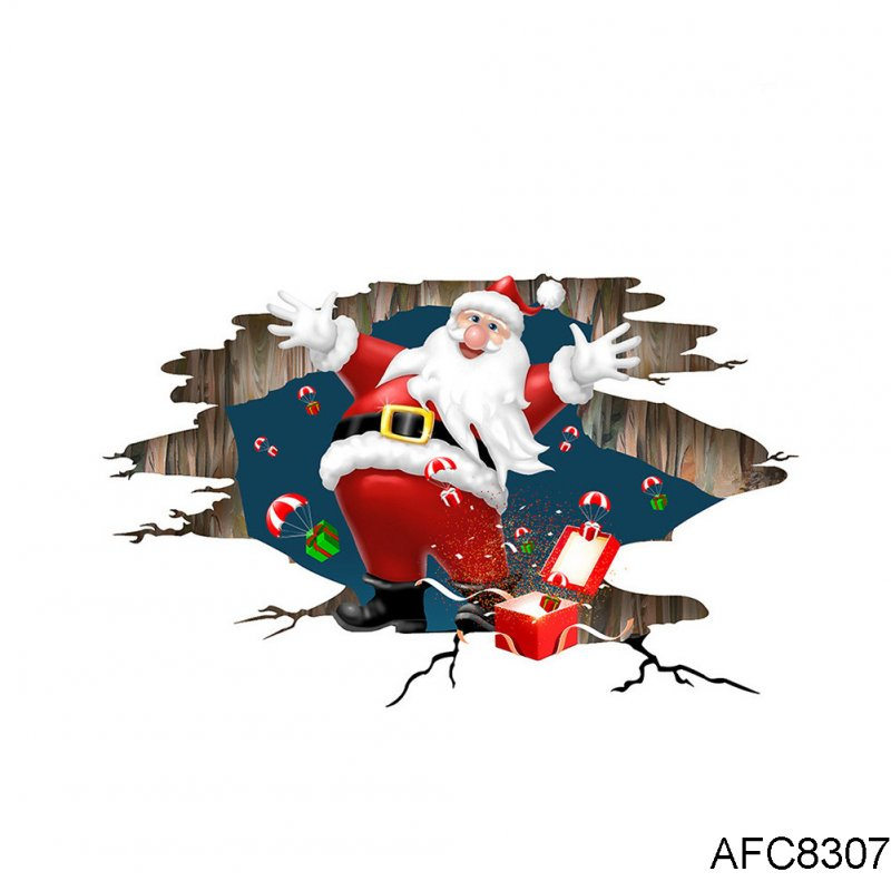 3D Cartoon Santa Claus Floor Wall Sticker for Home Christmas Decor Decal AFC8307