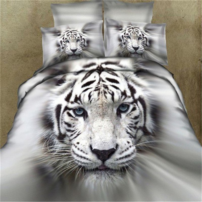 3D Cool Tiger Head Printing Theme Bed Set Quilt Cover Pillowcases Housewarming Gift Decoration 3pcs/4pcs Tiger head white