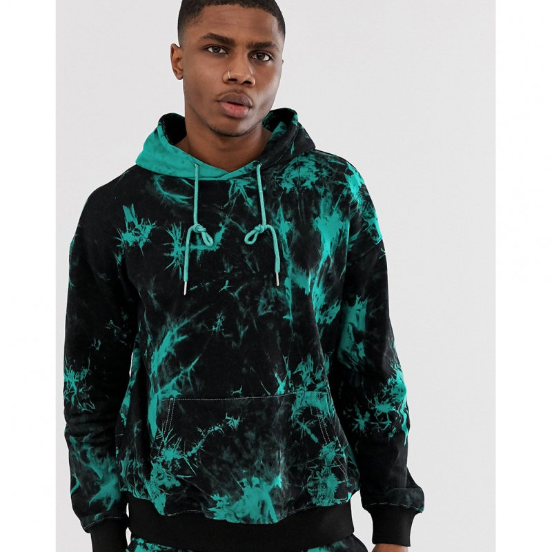 3D Digital Hoodie Leisure Sweater Floral Printed Gradient Color Top Pullover for Man H512 Top_M