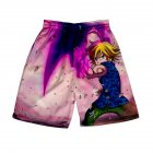 3D Digital Pattern Printed Shorts Elastic Waist Short Pants Leisure Trousers for Man D style_L