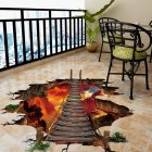 3D Floor/Wall Sticker Cool Lava Bridge Removable Stereo Mural Decals Art  Decorsations 60*90cm