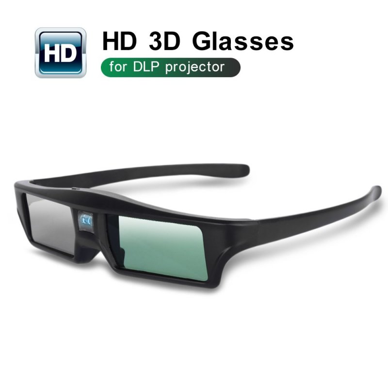 3D Glasses DLP link Rechargeable Battery High Brightness and Contrast Image Flexible Stand Compatible with All 3D DLP Projectors black