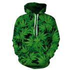 3D Green Leave Printing Hooded Sweatshirts for Lovers green L