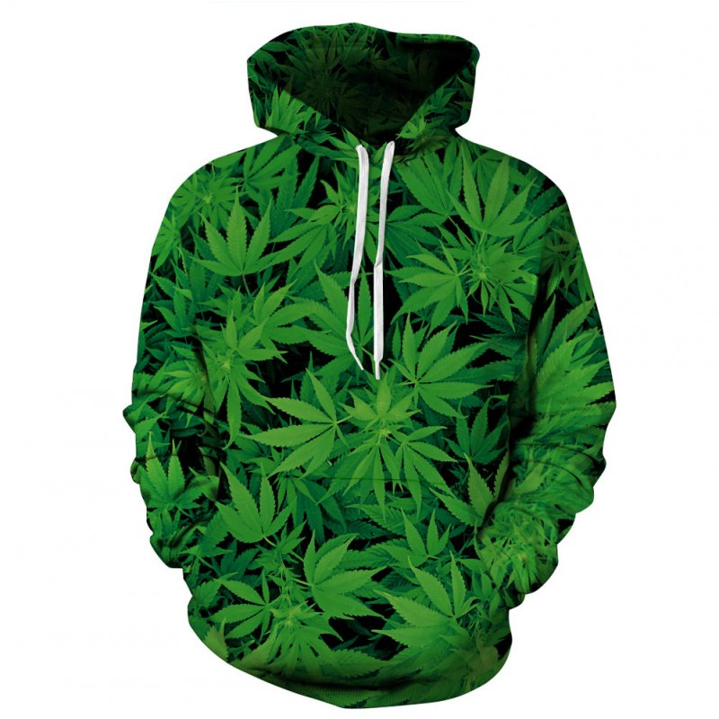 3D Green Leave Printing Hooded Sweatshirts for Lovers green_L