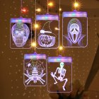 3D Halloween LED String Skull Pumpkin Spider USB Pendant Light Party Room Decoration  colorful