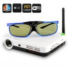 3D LED Projector uses DLP Technology  Android 4 2 operating system  Quad Core CPU  8GB Internal Memory  LED Projector  Wi Fi Support and comes with 3D Glasses