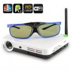 3D LED Quad Core  Projector for home  education or business use  has DPL technology Wi Fi Support and 3D functions and comes with 3D Glasses and Stand