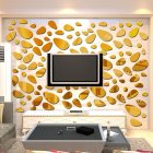 3D Mirror Wall Sticker Oval Cobble Stone Bathroom Porch Ceiling Decorative Decal SM098 Gold