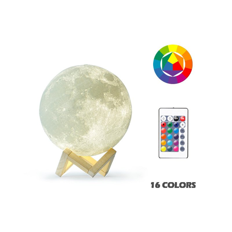 3D Moon Shaped Lamp Moonlight Colorful Touch USB LED Night Light Decor Home Decor Gift 16 colors (with remote control)_20cm