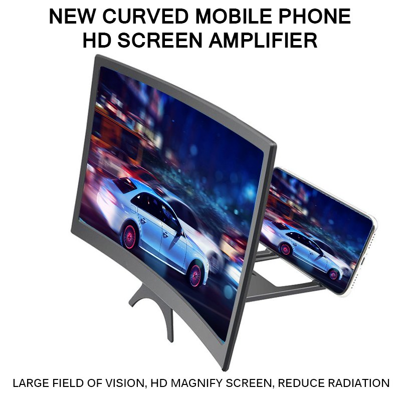3D Phone Screen 12 Inch HD Magnifier Video Amplifier Portable Mobile Phone Curved Lens black