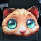 3D Printed Dog Cat face Car Headrest Neck Rest Auto Neck Safety Cushion   Car Neck Support Headrest