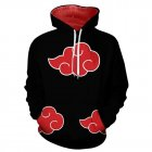 3D Red Black Color Series Printing Hooded Sweatshirt black_M