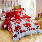 3D Santa Claus Printing Bed Sheet + Quilt Cover + Pillowcase Bedding Set