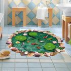 3D Stereo Lotus Carp Pond Floor Mural Home Decor Sticker for Bedroom Bathroom Living Room