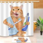 3D Teeth Brushing Cat Digital Printing Shower Curtain with Hanging Hooks YL6972_150*180cm