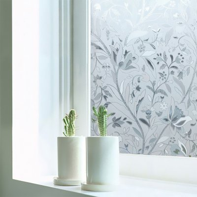 3D Waterproof PVC Frosted Static Window Sticker Flower Pattern Glass Film for Home Bedroom Bathroom 60x200cm/roll